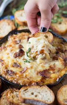 {Hot caramelised onion dip with bacon and gruyere.} How can you go wrong with bacon, onion & cheese!