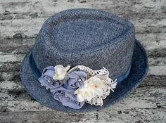 Romantic Tweed Shabby chic Rose Hat Charcole Gray Grey Rustic gypsy cowgirl Womens hat Vintage style lace fabric rose