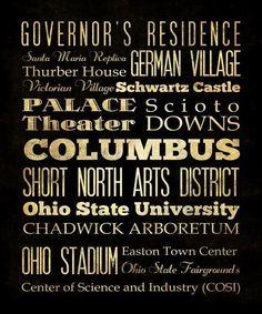 Columbus Ohio Typography Art  Canvas / Bus  / by LegacyHouseArt, $194.95