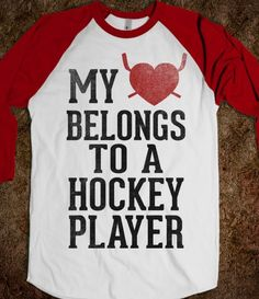 My Heart Belongs To a Hockey Player (Baseball Tee) - Sports Girl