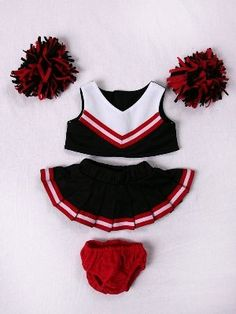 """Red & Black Cheerleader Outfit Teddy Bear Clothes Fit 14"""" - 18"""" Build-A-Bear, Vermont Teddy Bears, And Make Your Own Stuffed Animals, 2015 Amazon Top Rated Stuffed Animal Clothing & Accessories #Toy"""
