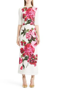 Dolce&Gabbana Dolce&Gabbana Floral Print Cady Maxi Dress available at White Maxi Dresses, Floral Dresses, Lovely Dresses, White Dress, Prom Dresses, Wedding Dresses, Luxury Wedding Dress, Midi Dress With Sleeves, Floral Print Maxi Dress