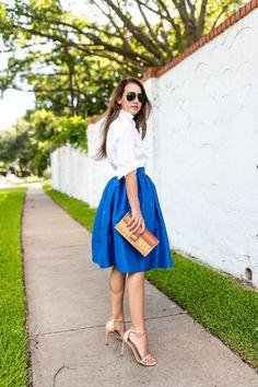 Amy Havins wears a blue lady length party skirt. Dallas Wardrobe, Taylor Swift Youtube, Dressy Skirts, Blue Skirts, Date Night Fashion, Date Dresses, Party Skirt, Dot Dress, Formal Wear