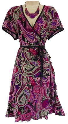 1X 16 18 SEXY Womens PAISLEY FAUX-WRAP DRESS Day/Evening Spring Summer PLUS SIZE #Apt9 #FauxWrap #Versatile