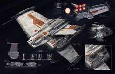 Rendili Hyperworks BT-7 Thunderclap. Trooper ship from the Old Republic. Awesome detail and inventiveness by artist Paul Adam: http://untameduniverse.blogspot.sg/