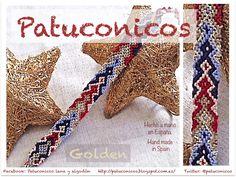 Pulseras de hilo Patuconicos hechas a mano en España con nudos de macramé. modelo golden pagoda.