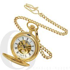 Dual Opening Gold Mechanical Charles Hubert Pocket Watch & Chain #3575-G