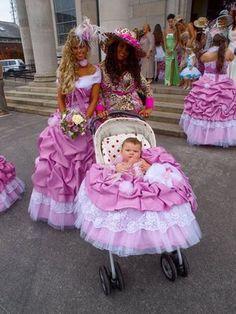 My Big Fat Gypsy Wedding - bridal party.I was so a gypsy in a past life! Ugly Wedding Dress, Tacky Wedding, Wedding Dresses, Wedding Stuff, Dream Wedding, Wedding Fun, Bridal Gowns, Wedding Ideas, My Big Fat Gypsy Wedding