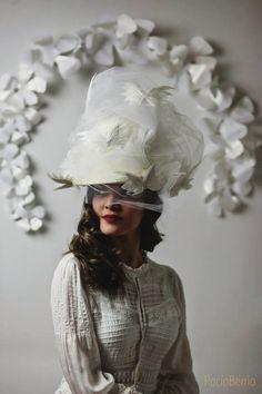 Chistera novia vintage. Gema Juarez Milliner Foto. Rocio Berrio