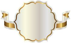 White Label with Gold Ribbon PNG Clipart