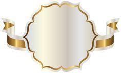 Белая этикетка с золотым лента ПНГ клипарт