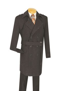 """MEN'S WINTER CHARCOAL DOUBLE BREASTED TOP COAT 38"""" LONG"""