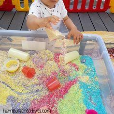 Picnic Blanket, Outdoor Blanket, Baby Activities, Montessori, Easy Crafts, Diy Crafts, Baby Sensory Bottles, Colored Rice, Children Activities
