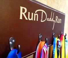 Father's Day Gift, Marathon, Half Marathon, TRI, 10K Running Medal Holder - Run Daddy Run on Etsy, $44.99