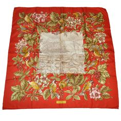 Salvatore Ferragamo Signature Multi-Floral with Birds Silk Hand-Rolled Scarf | From a collection of rare vintage scarves at https://www.1stdibs.com/fashion/accessories/scarves/