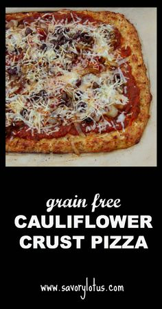 Cauliflower Crust Pizza with Caramelized Onions and Olives (grain free)  | savorylotus.com