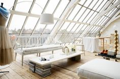 Romantic White Loft With Huge Windows In Sweden. The sort of place I'd love to spend a holiday in but would hate to live in. Home Interior, Interior And Exterior, Studio Interior, Interior Modern, Architecture Design, Interior Design Minimalist, Design Interior, Minimal Design, Casas Containers
