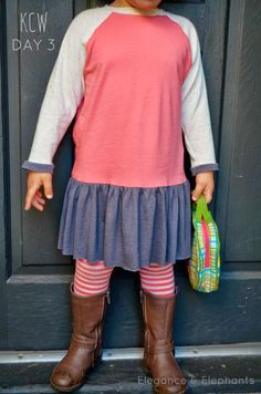 Elegance & Elephants: Kids Clothes Week Day 3 - use Ottobre raglan pattern and add gathered skirt (or perhaps a half circle skirt?)