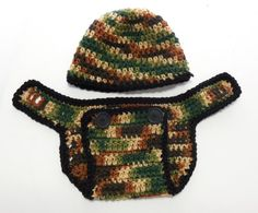 #CrochetDiaperCover and Beanie Brown and Green by GabbysQuilts
