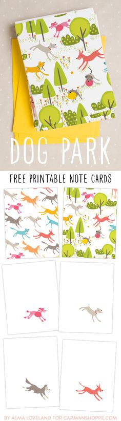Free dog park printable note cards