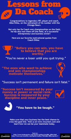 Our favorite inspirational quotes from famous Chicago Bears' Coach and entrepreneur, Mike Ditka!