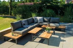 Suns Memphis Six Seater Luxury Outdoor Lounge Set with Adjustable Coffee Table Outdoor Gazebos, Outdoor Lounge, Outdoor Living, Outdoor Decor, Grey Garden Furniture, Outdoor Furniture Sofa, Adjustable Coffee Table, Teak, Dutch Gardens