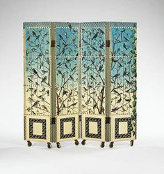 PIERO FORNASETTI    folding screen    Fornasetti  Italy, 1952  lacquered wood  56 w x 1.25 d x 54 h inches