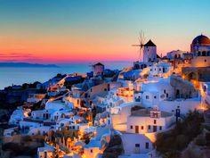 Santorini , Greece. A colorful town.