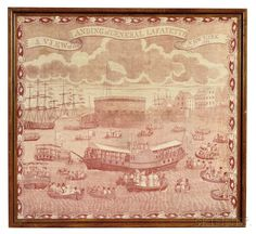 'A VIEW of the LANDING of GENERAL LAFAYETTE at NEW YORK Augt 1824' Commemorative Kerchief, c. 1824. | Lot 383 | Auction 2961B | Sold for $5,843