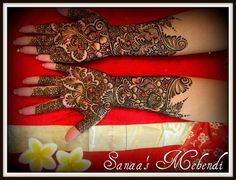 Red Jeweled Mehndi Design www.amouraffairs.in Amour Affairs | Indian Bride | Indian Wedding | South Asian | Bridal wear | Lehenga | Bridal Jewellery | Makeup | Hairstyling | Indian | South Asian | Henna Mehendi Mehndi