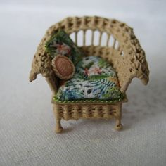 Quarter scale miniature wicker chair by CherylHubbardMinis on Etsy Coral Fabric, Green Silk, Dollhouse Furniture, Teal Blue, Cheryl, Seat Cushions, Wicker, Love Seat, Hand Weaving