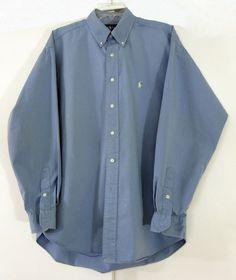 Ralph Lauren Polo Men's Button Down Shirt Blue Blake Large L Pony Logo LS #RalphLauren