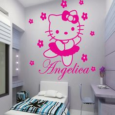 Nice HELLO KITTY Fairy Personalised Name Cartoon Wall Stickers Art Decals Vinyl  Mural Kid Room Decor Large Part 3