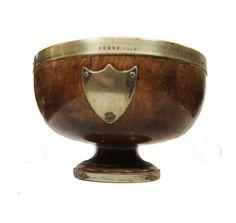 Victorian Silver Plate Fruit Bowl Late 1800s Pedestal Wood Bowl Antique Oak and Brass Bowl Thomas Prime  A substantial antique wooden pedestal fruit bowl