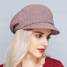Elegant newsboy cap for women red UV protection sun hat