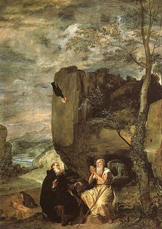 "Diego Velázquez Saint Anthony the Abbot and Saint Paul, the First Hermit; 1634 Museo del Prado, Madrid "" This is a representation in five scenes of the meeting of Saint Anthony the Abbot with Saint. Caravaggio, Spanish Painters, Spanish Artists, Le Prado, Anthony The Great, San Antonio Abad, Diego Velazquez, Anta, Oil On Canvas"
