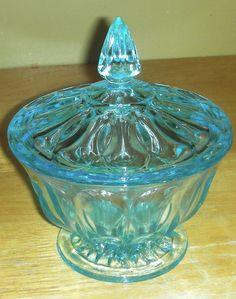 Capri Blue, Aqua Teal Depression Glass Covered Bowl