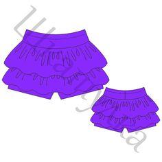 Выкройка юбки-шорт для девочки KB020518