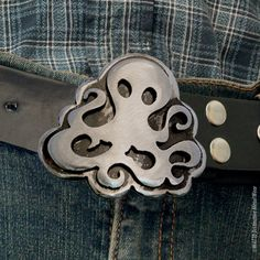 Steampunk Octopus Belt Buckle by Outlaw Kritters #handmade #buckle www.outlawkritters.com