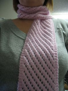 This scarf is a simple diagonal lace eyelet pattern that can easily be modified for use with any weight yarn and can be knit in any size by simply casting on more stitches or knitting more pattern repeats. The lace pattern is worked over a multiple of three stitches, so for a wider scarf cast on more stitches in a multiple of three or for a narrower scarf, take away a multiple of three. To make a longer scarf, simply knit the 6 row lace pattern as many more times as you would like. Keep in…