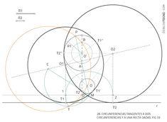 Circunferencia tangentes a circunferencia y recta por puntos. Problema de Apolonio · Dibujo Técnico Dado, Line Chart, Diagram, Plane Geometry, Drawing Techniques, Dots