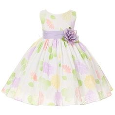 Kids Dream Lavender Sash Flower Pattern Easter Dress Little Girl 2T-12 ($40) ❤ liked on Polyvore featuring kids, dresses and children