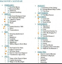 Movies for 2014.  The ones with the dots beside them are the ones I want to see!!