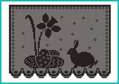 Mary Heklani Radovi I Sheme 400 Filet Crochet, Crochet Motif, Crochet Doilies, Knit Crochet, Crochet Patterns, Crochet Curtain Pattern, Crochet Curtains, Curtain Patterns, Easter Crochet