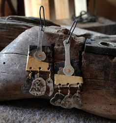 ottoman akce coins and gold leaf dangle earrings by infinitystop