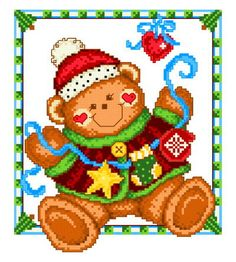 Holiday Teddy - cross stitch pattern designed by Ursula Michael. Category: Christmas.