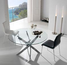 Mesa redonda de acero y cristal TOZU Medidas: 130 x 75 cm  Cristal templado. Estructura de ACERO.