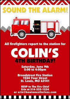 Fireman Party Invite