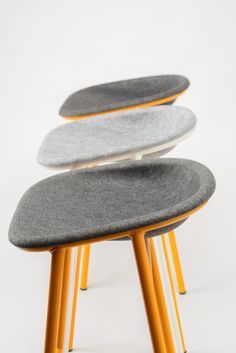 Very cool furniture design: felt chair/stool, grey + orange!