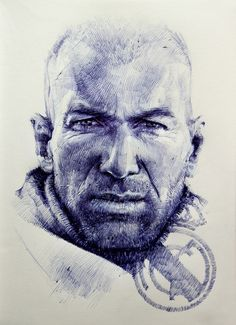 Zinedine Zidane by Vaasiliy Zinedine Zidane, Football Art, Football Players, Real Madrid Team, Toni Kroos, Portrait Sketches, Celebrity Portraits, Cool Art, Nice Art